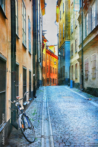 Charming colorful streets of old town in Stockholm, Sweeden