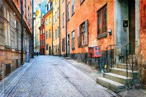 Charming colorfuk streets of old town in Stockholm, Sweeden Canvas Print