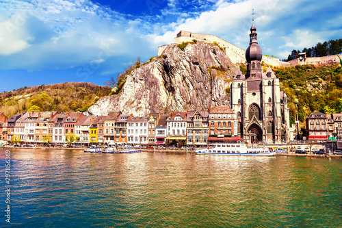 beutiful Dinant at the river Meuse in Belgium