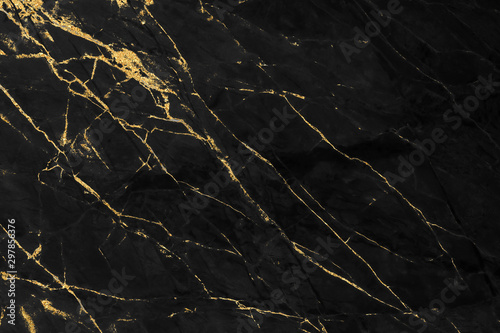 Black and gold marble texture design for cover book or brochure, poster, wallpaper background or realistic business and design artwork.	 - 297856376