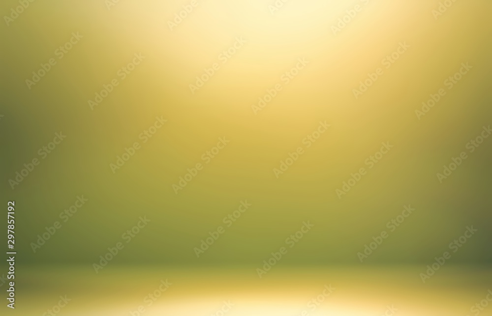 Fototapety, obrazy: Yellow shine in green room abstract 3d. Nature tints background.