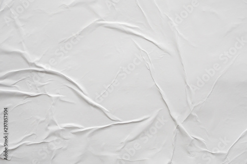 Vászonkép Blank white crumpled and creased paper poster texture background