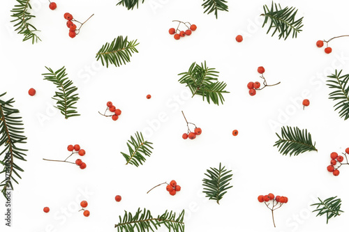 Red ash berries and green branches pattern on white background Photo Canvas Print