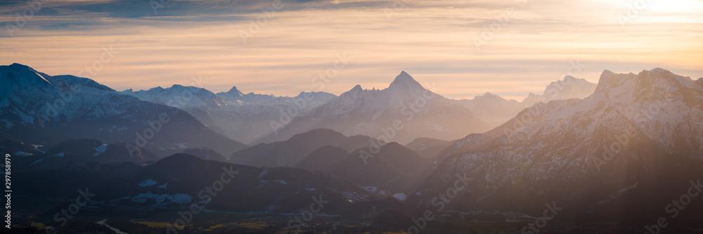Fototapety, obrazy: Berge Winter - Sonnenuntergang Alpen Panorama