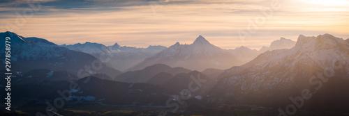 Canvastavla  Berge Winter - Sonnenuntergang Alpen Panorama