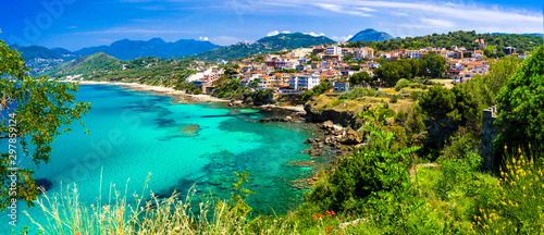 Italian summmer holidays. beautiful seaside hiltown Palinuro in Cilento Natioanl park. Campania