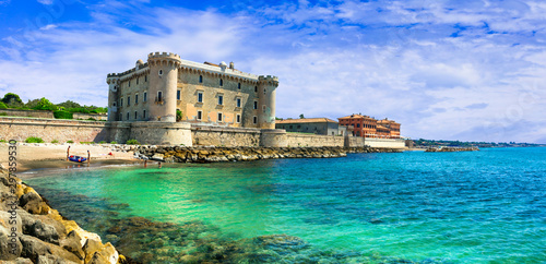 Castles of Italy - medieval Castello Palo Odescalchi and the beach in Ladispoli.