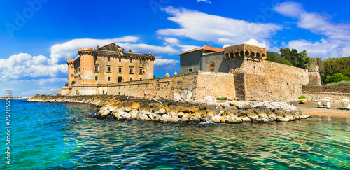 Castle in the sea - medieval impressive fortress in Ladispoli. Italy