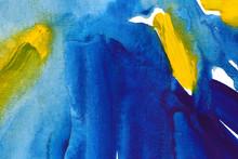 Ultramarine And Yellow Hand Drawn Watercolour Painting. Modern Blue And Indigo Blending Raster Illustration.