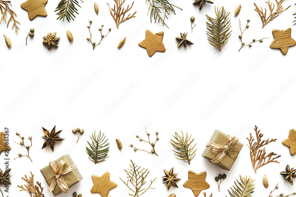 Fototapety, obrazy: Gold Christmas Ornaments On White Background With Copy Space
