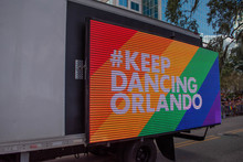Orlando, Florida. October 12, 2019. Keep Dancing Orlando On Big Screen In Come Out With Pride Orlando Parade At Lake Eola Park Area 67