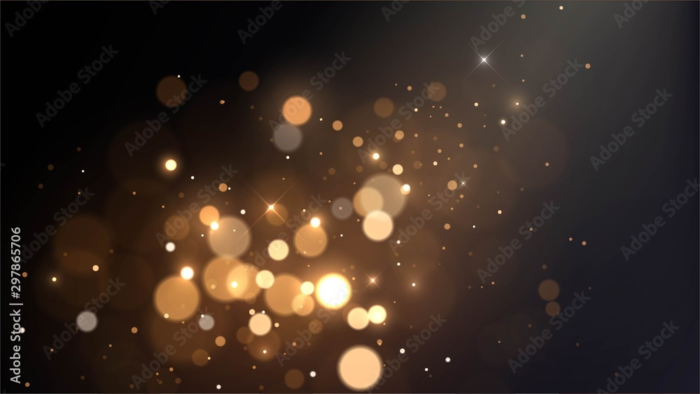 Fototapeta Vector background with golden bokeh dust, blur effect, sparks