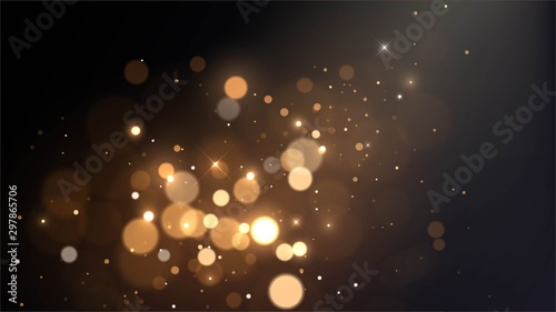 Fototapeta Vector background with golden bokeh dust, blur effect, sparks obraz