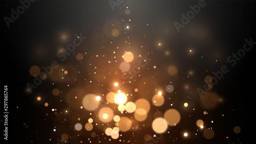 Fototapeta Vector background with golden bokeh dust, blur effect, sparks obraz na płótnie