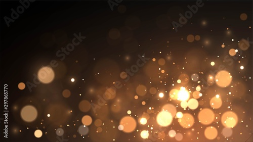 Obraz Vector background with golden bokeh dust, blur effect, sparks - fototapety do salonu