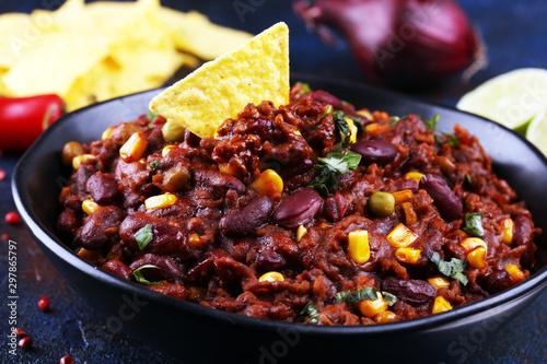 Hot chili con carne. mexican food tasty and spicy with red beans Canvas Print