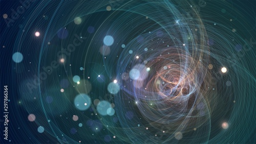 Abstract background with glowing geometric structure, network, star system, fractal