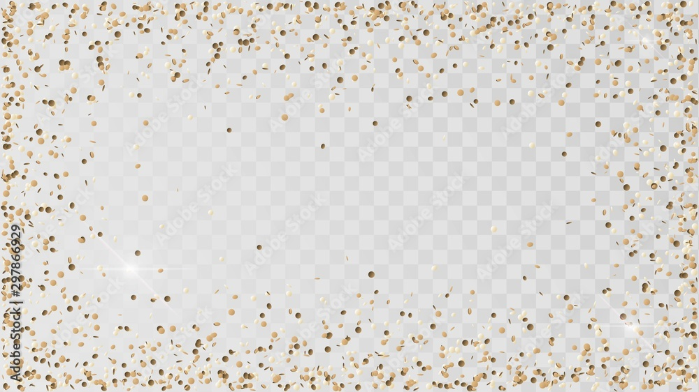 Fototapety, obrazy: Poured golden confetti on a transparent background, a frame of gold confetti, decoration, rain of coins