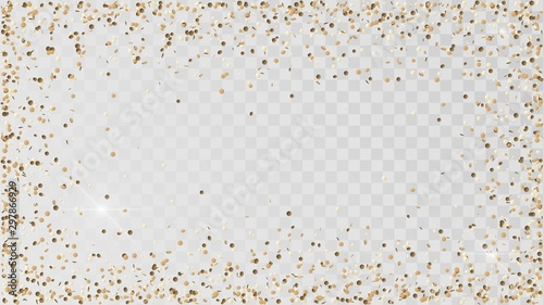 Photo Poured golden confetti on a transparent background, a frame of gold confetti, de