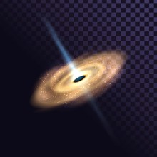 Massive Black Hole And Stars, Quasar, Galaxy On Transparent Background