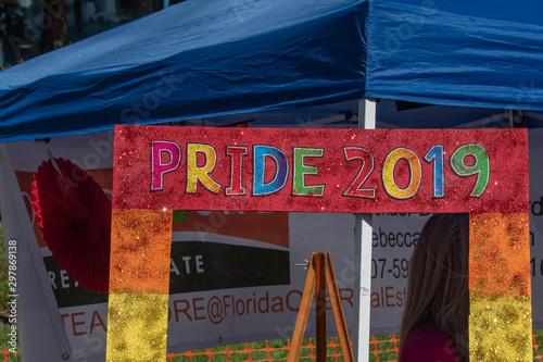 Foto op Canvas Route 66 Orlando, Florida. October 12, 2019. Pride 2019 arch in Come Out With Pride Orlando parade at Lake Eola Park area 155