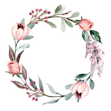 Wreath, Floral Frame, Watercolor Flowers Pink And Purple Roses, Illustration Hand Painted. Isolated On White Background. Perfectly For Greeting Card Design.