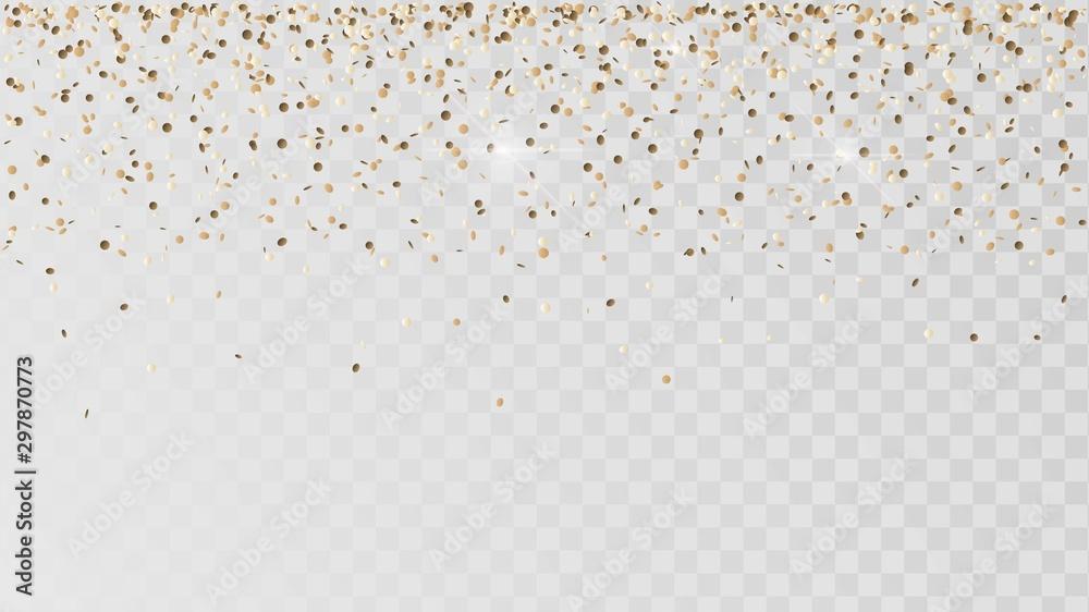 Fototapeta Falling golden confetti on a transparent background, celebration and festival, gold decoration, rain of coins