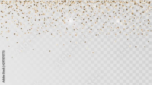 Fototapeta Falling golden confetti on a transparent background, celebration and festival, gold decoration, rain of coins obraz