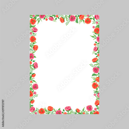 Fototapeta Floral Wedding Invitation Card With Rose And Red Peony Flower Template Note Card Design