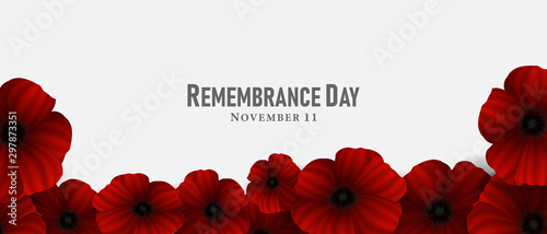 fototapeta na ścianę November 11, Remembrance day, A poppy flower design Billboard, Poster, Social Media template vector Illustration