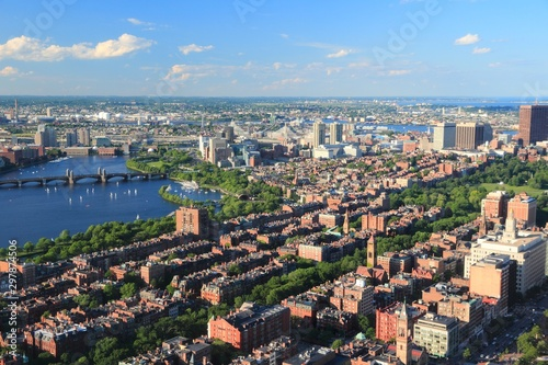Boston city, United States. Aerial view with Charles River.