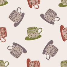 Winter Warmer Hot Coco Seamless Pattern. Holiday Background With Hand Drawn Flat Doodle Festive Froth Cup Icon. Warm Up From The Cold Scandi Hygge Mood. Muted Color In Scandinavian Style Vector EPS10