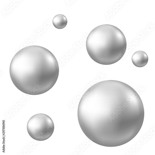 Canvastavla Realistic natural pearl isolated on white background.