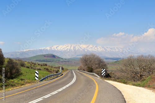 Mountain Mount Hermon with street on Golan Heights, Israel Wallpaper Mural