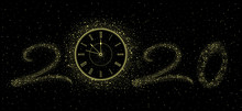 New Year Gold Clock 2020. Isol...