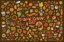 Colorful Hand Drawn Doodle Cartoon Set Of Thanksgiving Objects And Symbols
