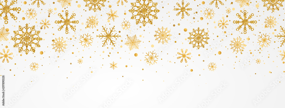 Fototapeta Gold snowflakes falling on white background. Golden snowflakes border with different ornaments. Luxury Christmas garland. Winter ornament for packaging, cards, invitations. Vector illustration