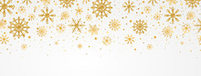 Gold Snowflakes Falling On Whi...