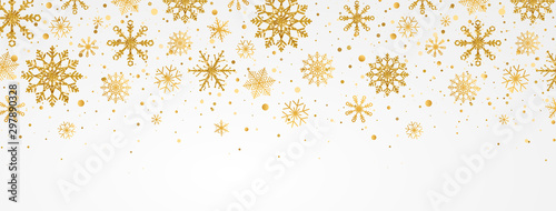 Valokuvatapetti Gold snowflakes falling on white background