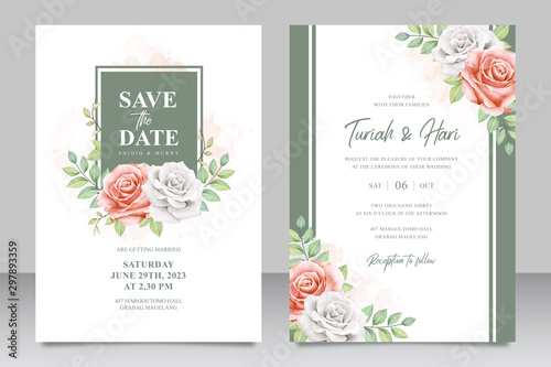 Fényképezés  Floral frame multi purpose wedding invitation card set template