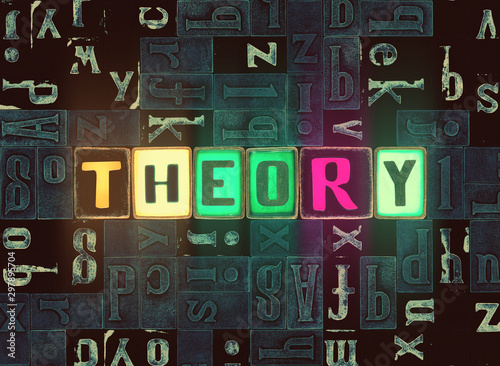 Cuadros en Lienzo Theory word as neon glow letter with lights