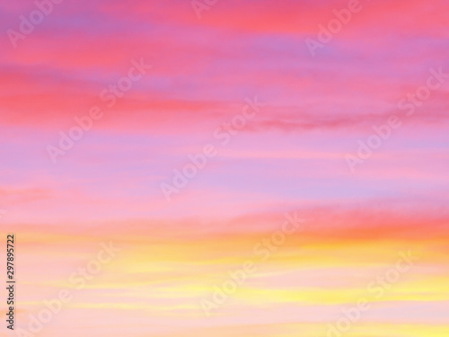 Beautiful abstract nature sunset or sky as background. Abstract pastel soft colorful smooth blurred textured background off focus toned. Beautiful sunset sky as backdrop. Ronamtic rainbow sunrise