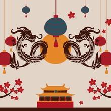 Chinese Dragon Art Poster, Vec...