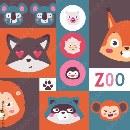 Zoo animals collage, vector illustration. Set of stickers with cute cartoon characters, smiling faces of raccoon, lion, koala, squirrel and monkey