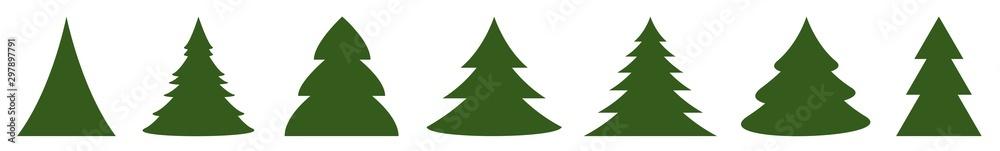 Fototapety, obrazy: Christmas Tree Green Icon | Fir Tree Illustration | x-mas Symbol | Logo | Isolated Variations