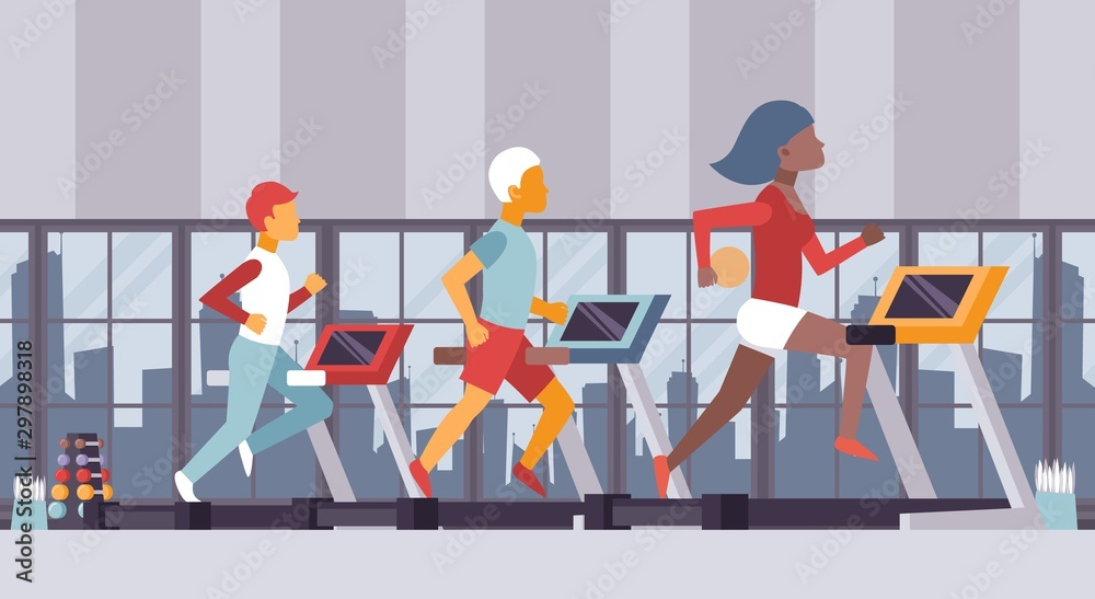 Fototapety, obrazy: Fitness gym vector illustration. People running on treadmills sport center, cardio exercise class. Active fit man and woman in urban fitness studio, healthy lifestyle