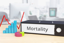 Mortality – Finance/Economy. Folder On Desk With Label Beside Diagrams. Business/statistics. 3d Rendering