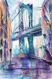 Fototapeta Nowy Jork - Obraz malowany recznie akwarelą przedstawiający ulicę w Nowym Jorku z mostem Brooklińskim w tle