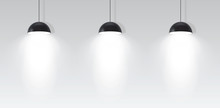 Three Ceiling Lamp. Realistic Vector
