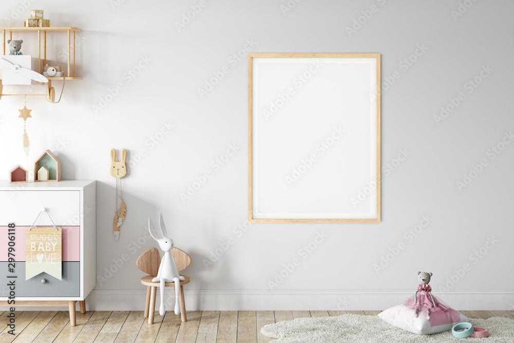 Fototapety, obrazy: Kids Wall mock up. Kids interior. Scandinavian interior. 3d rendering, 3d illustrationinterior. 3d rendering, 3d illustration
